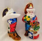 Christopher Radko Rodeo Rose Cowboy Boot & Lone Star Santa Texas Ornaments -2pcs