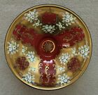 Large Antique Czech Bohemian Cranberry Glass Crystal Bowl with Raised Flowers