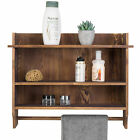 MyGift 3 Tier Wall Mounted Wood Bathroom Shelves with Hanging Towel Bar