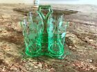 Vtg Green Cambridge Glass Uranium Bridge Set 4 Etched Glasses With Tray Caddy