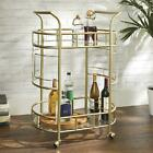 Bar Drink Serving Cart Rolling Glass Shelves 3 Bottle Rings Elegant Gold NEW