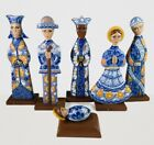 Hand Carved Nativity Set Christmas wooden Hand Painted Light Blue 12Tall