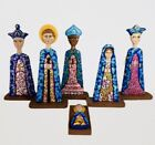 Hand Carved Nativity Set Christmas Unique wooden Hand Painted Colorful 12Tall