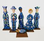 Hand Carved Nativity Set Christmas Unique wooden Hand Painted Navy Blue 12Tall