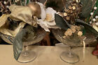 ANTIQUE HAND MADE GLASS Ruffled Rim Vases Set Of Two