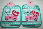 Valentines Day Pot Holders Set LOADS OF LOVE PINK TRUCK