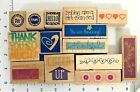 Lot 14 Rubber Stamps Words Phrases Flowers Hearts Mixed Themes  Brands