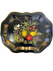 HUGE Vintage Handpainted Black Chippendale Fruit Floral Signed Tole Tray 27 x 2