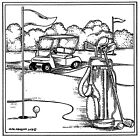 Golfing in Square Frame NORTHWOODS Wood Mounted Rubber Stamp NEW PP10429
