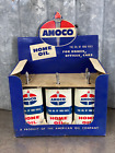 Amoco Handy Oiler Store Display Sign Cardboard Home Oil Can Not Quart w/ 4 cans