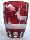old Bohemian Red Cranberry Cut To Clear Glass fine detailed work deer