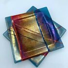 2 FUSED ART GLASS SQUARE PLATEs Tray Dichroic Iridescent Red  Blue 75 Signed