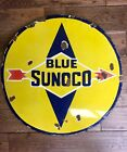 """Blue Sunoco Double Sided 24"""" Round Porcelain Sign"""