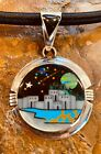 Native American Style Sterling Silver Micro Inlay Pendant Cosmic Starry Night