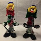 2 Italian Vintage Murano Hand Blown Glass Clown Figurines 10