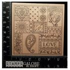 OUTLINES RUBBER STAMPS K702 COLLAGE BACKGROUND HEARTS LOVE VALENTINES 2225