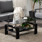 Black Highlight Glass Coffee Table End Side Table w Shelf Living Room Furniture