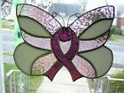 Stained Glass Awareness Ribbon Butterfly Real Glass