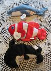 Ty Beanie Babies CRUNCH Shark JESTER Fish WAVES Whale Lot of Three (3) W/Tags