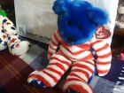 TY Beanie Buddy - LIBERTY the Bear (Blue Head Version) (14 inch) - MWMTs