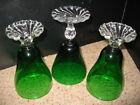 Set of 3 Anchor Hocking VTG Forest Green Boopie Burple Water Goblets Tumblers VG