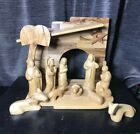 13 pc Set Olive Wood Faceless NATIVITY Hand Carved Holy Land Modern Set Large