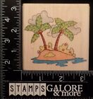 WHIPPER SNAPPER RUBBER STAMPS MX619 PALM ISLAND TROPICAL TREE COCONUTS 494