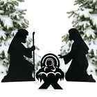 Metal Silhouette Nativity Yard Signs Home Decor 3 Pieces