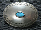 NATIVE TURQUOISE HIPPIE STAMPED BELT BUCKLE VINTAGE RARE HAND MADE 1970s