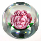 Scarce Signed Pete Lewis Pink Crimp Rose Paperweight