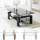 Modern Rectangle Cocktail Coffee Table Glass  Wood Living Room With Lower Shelf