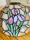 """Tiffany Stained Glass Lamp Shade Flowers Pink Lilly Art 12"""" X 7"""""""