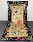 Antique 1900s Chinese Embroidery Silk Panel With Butterflies  Flowers Large 35