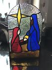 Vintage Stain Glass Nativity Night Light Stained Glass Mom Gift Housewarming