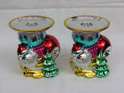 2 Dept 56 Metallic Style Santa w/Tree & Ornaments Candle Holders