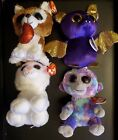 TY BEANIE BABIES BOOS LOT OF 4 PLUSH TABOR SMOOCHES COUNT ZURI 6 INCH NWT