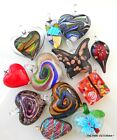 BEAUTIFUL LOT OF 12 HANDMADE FUSED GLASS DICHROIC GLITTER PENDANTSCHARMSHEARTS