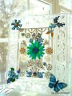 OOAK VINTAGE JEWELRY ART GLASS CRYSTAL GLASS FRAME COLLAGE BLUE  FLOWERS