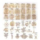 200PCS Assorted Antiqued Gold Metal Drops Charms for Jewelry Making 18 Styles
