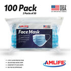 Made in USA 100 Pack Disposable Face Mask 3 Ply Dental Surgical Medical Masks