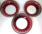 3 Bohemian Cranberry Glass Bowls Etched Red to Clear 8