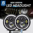 Pair 7 Inch Round LED Headlights Projector Black For Jeep Wrangler JK LJ TJ CJ