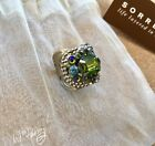 SORRELLI Studded Crystal Band Ring Antique Silver tone SEA GLASS Pre Owned 90
