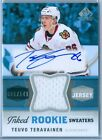 TEUVO TERAVAINEN 2014-15 SP GAME USED INKED ROOKIE SWEATERS AUTO AUTOGRAPH # 149
