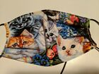 Cats Kittens Face Mask Handmade 100 Cotton Reversible WITH STRINGS