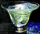 Signed 1974 NF 75 Art Glass Flare Vase or Bowl Faint Pulled Feather