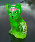 FENTON GLASS RARE QVC EXCLUSIVE KEY LIME CAT HIDDEN MOUSE SERIES ONLY 500 MADE