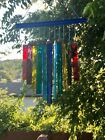 Stained Glass Chakra Rainbow Blue Top Wind Chime Sun Catcher