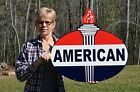 OLD STYLE 2 SIDED AMERICAN MOTOR OIL GAS WITH TORCH STEEL SIGN USA MADE SUPER!