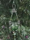 Hanging green art glass vase wire art Handmade in California Free Shipping